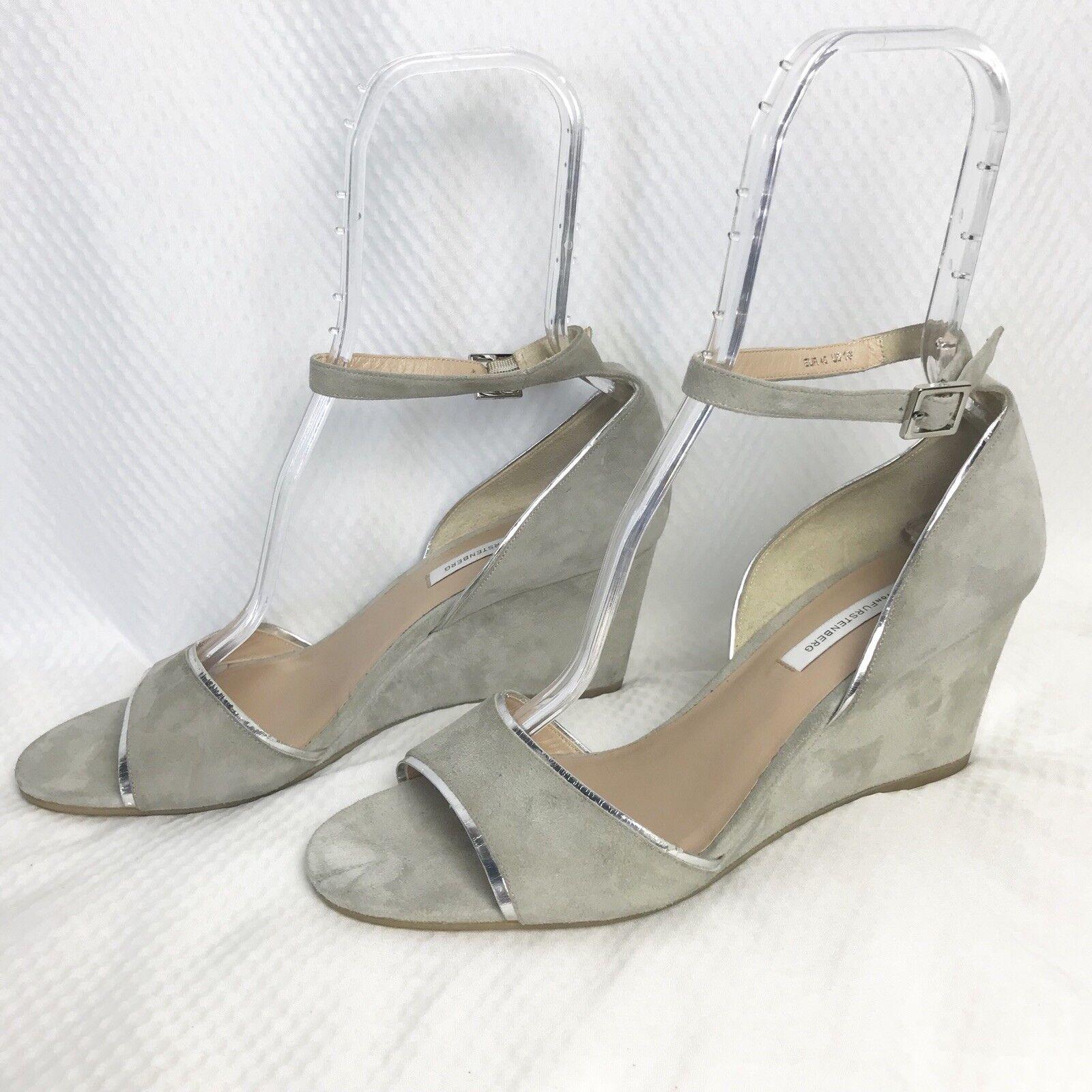 Diane von Furstenberg Grey 'asti' Suede Sandals 10M Wedges shoes NWOB R