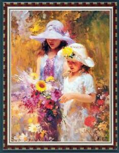Hand-painted-Oil-painting-art-Impressionism-flower-girl-on-Canvas-24-034-X36-034