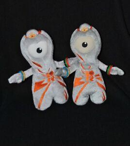 Lot-2-peluche-doudou-mascotte-officielle-J-O-Londres-2012-gris-orange-21cm-TTBE