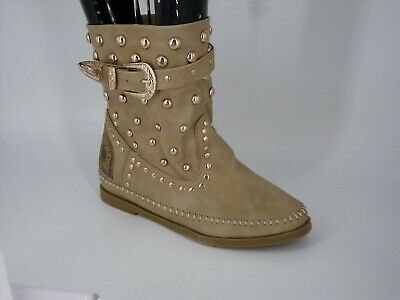 Jennika Flat Buckle Detain Ankle Boot's Apricot Size Uk 4 Eu 37 Nh14 29