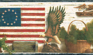Americana God Bless America Eagle Flag Country Wallpaper Border