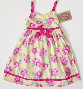 fbcac663050 NWT Girls 5 6 Yellow Pink Roses Green White Dot Floral Summer Dress ...