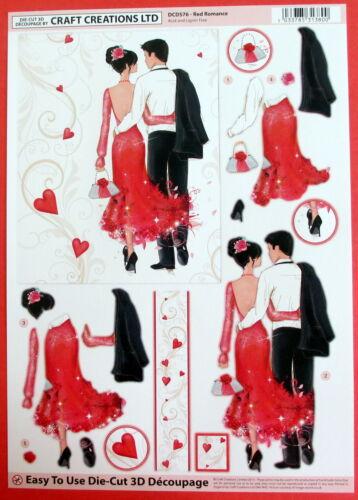 "A4 DIE CUT 3D PAPER TOLE DECOUPAGE /""RED ROMANCE/"" SHEET NO CUTTING EASY DCD576"