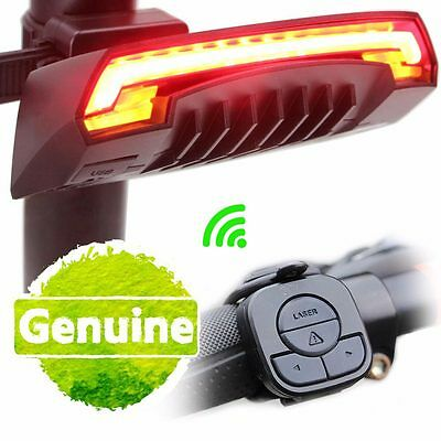 Bike Bicycle 2 Red Lasers Beam Cycling LED Rear Light Safety Tail Lamp w/Battery