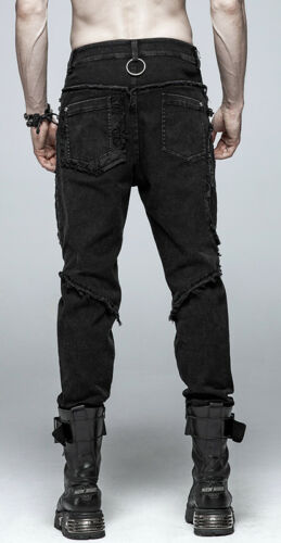 Ring Jeans pantaloni Punkrave Ring gotico strappati strappati Man Distruggi Punk Yr8fY5q