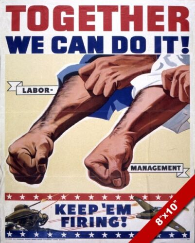 WWII UNITED STATES LABOR FORCE PROPAGANDA POSTER PAINTING REAL CANVAS ART PRINT