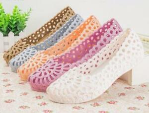 Womens-Plastic-Hollow-Out-Ballet-Flats-Comfort-Soft-Slip-On-Loafers-Casual-Shoes