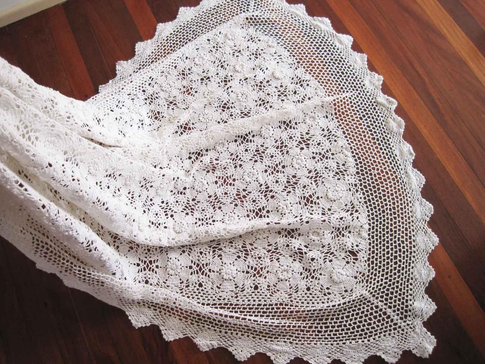 Elegant Vintage Style 3D Flower Hand Crochet blanc Cotton Table Cloth XL
