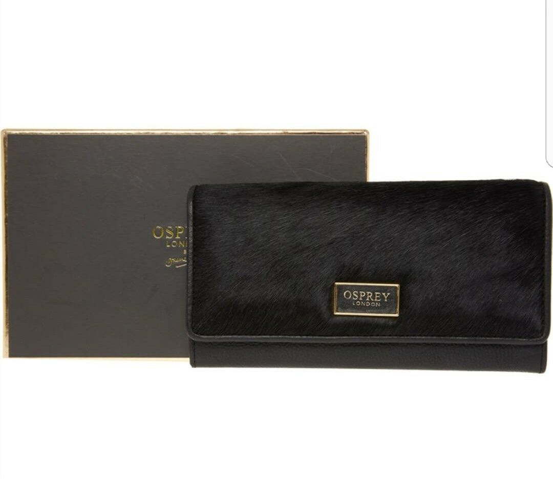 OSPREY LONDON Black Matinee Leather Purse