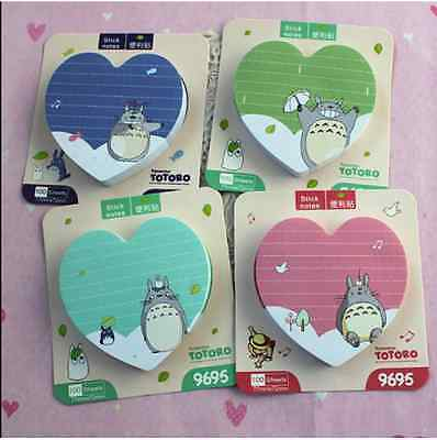TOTORO 100 Pages Heart Shape Post-it/ Sticky Note/ Memo/ Writing Pad *TURQUOISE*