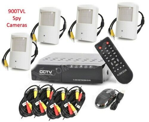 New 4 Channel Spy PIR sensor Nanny cctv camera system - Perfect covert security cameras only R2000