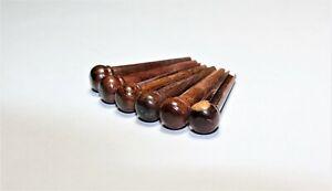 1 Set De 6 Pcs Rosewood Bridge Pins [qualité Premium]. (5 Degré Conique)-afficher Le Titre D'origine Demande DéPassant L'Offre
