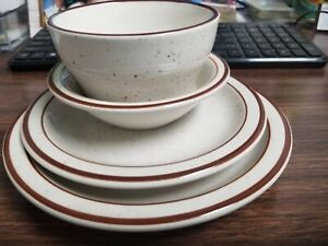 """SET OF 7 1/4"""" PLATE, 6 1/2"""" DESSERT PLATE, FRUIT DISH & SOUP CUP WITH BROWN TRIM"""