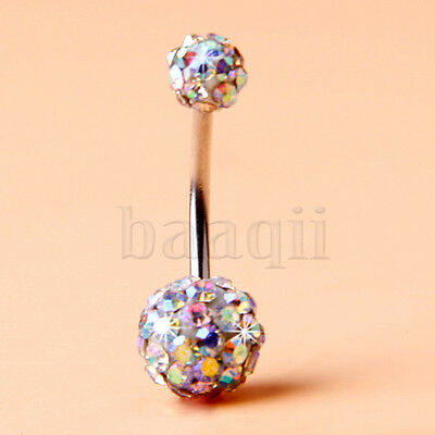 White Change Color Rhinestone Crystal Disco Double Ball Belly Navel Ring MA