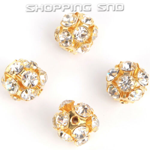 6mm-16mm Pave Tchèque Cristal Strass Hollow Round Ball Puck Spacer Beads