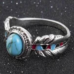 HOT-Tibetan-Silver-Turquoise-Ring-Wedding-Women-Vintage-Feather-Jewelry-Sz6-10