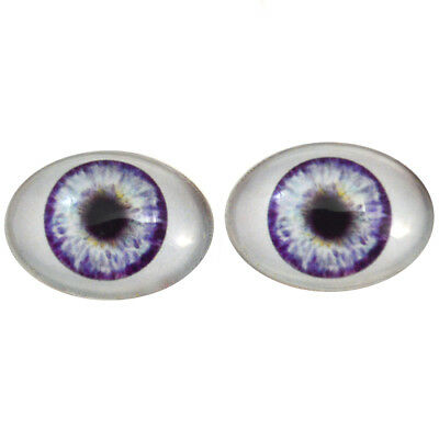Big Doll Making Eye Cabs Flatback Large 30x40mm Oval Glass Eyes Set in Blue