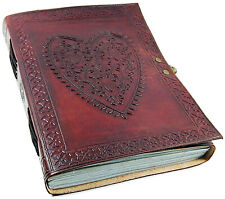 Handmade Paper Bound Large Vintage Heart Embossed Leather Journal Photo Album