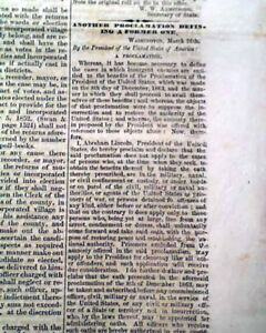 Rare-PRO-CONFEDERATE-Columbus-Ohio-Abraham-Lincoln-Proclamation-1864-Newspaper
