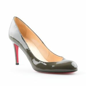 2441620ef9 Image is loading Christian-Louboutin-Olive-Green-Patent-Leather-Simple-Pump-