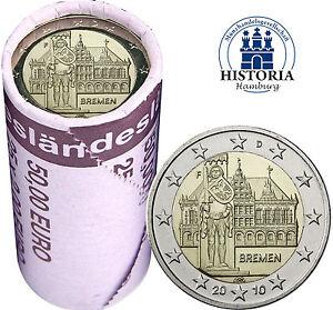 25-x-Deutschland-2-Euro-2010-Bundesland-Bremen-Rathaus-amp-Roland-Mzz-F-in-Rolle