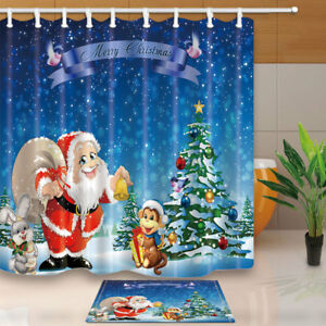 Christmas Tree and Santa Claus Bathroom Fabric Shower Curtain Set 71Inches Long