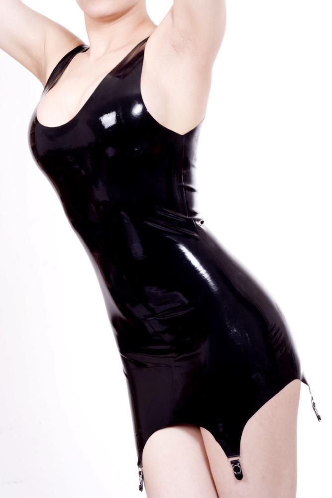 Latex Mini Dress w Suspenders - schwarz or rot - Rubber Fetish Gummi