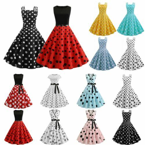 Women Rockabilly Vintage Pinup Polka Dot Swing Housewife Party Midi Dress 50 60s