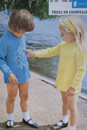 Vintage Knitting Pattern 1960s Girls Dress  Two Designs  PDF Download