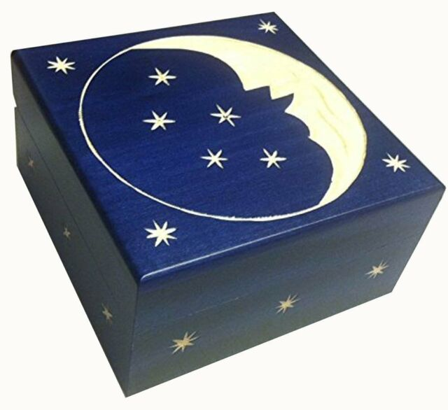 Crescent Moon and Stars Wooden Box Polish Handmade  Keepsake Jewelry Box