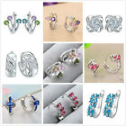 Fashion Women Elegant Crystal Sapphire 925 Sterling Silver Ear Stud Earrings