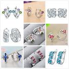 Fashion Women Elegant Crystal Sapphire 925 Sterling Silver Ear Stud Earrings