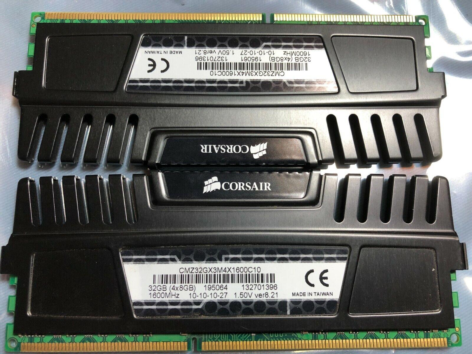CORSAIR Vengeance 32GB (4 x 8GB) 1600MHz DDR3 SDRAM (CMZ32GX3M4X1600C10). Buy it now for 118.00