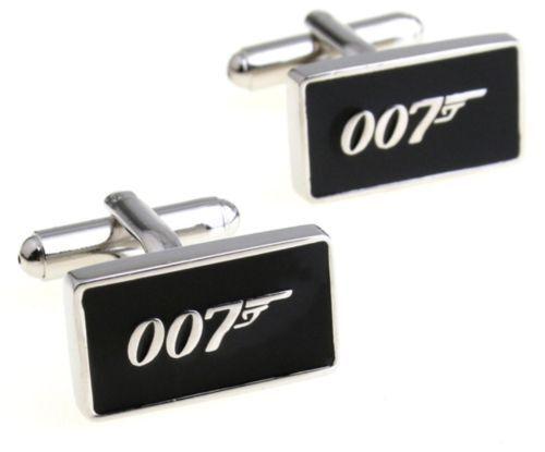 JAMES BOND 007 Silvertone//Black Enamel CUFFLINKS