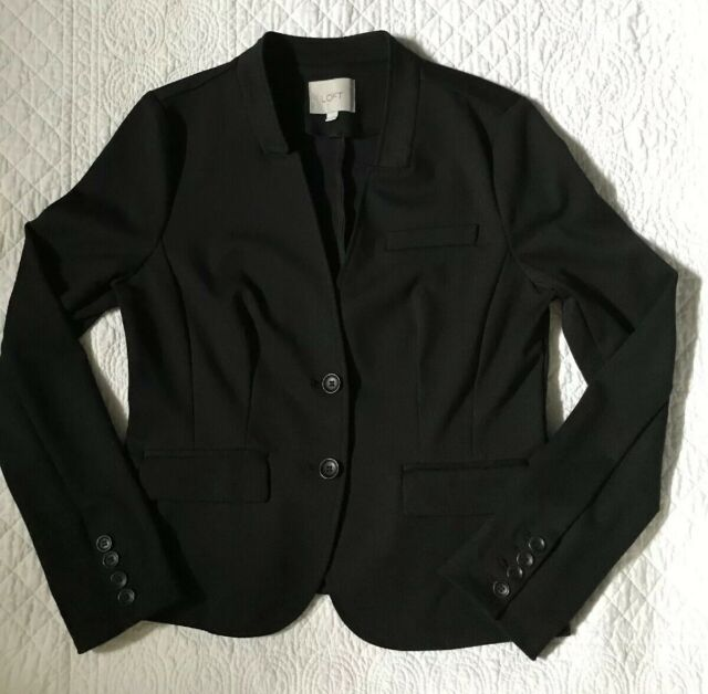 ANN TAYLOR LOFT black notched blazer jacket two button collarless career medium