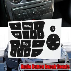 Noir-CD-Radio-reparation-bouton-autocollant-Decal-Set-pour-Renault-Clio-Megane