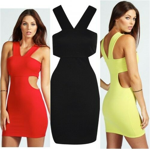 Boohoo Cut Out Side Bodycon Dress Size UK 12 Colours Red /& Black