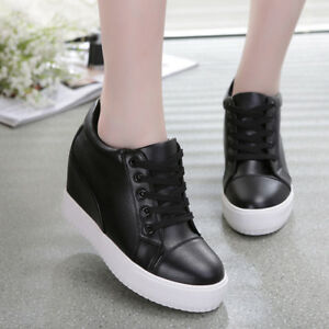9a084f2f794 Details about Womens Fashion Sneakers Lace Up Hidden Wedge Heel Platform  Trainer Tennis Shoes