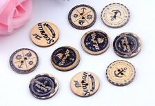 "Lot of 10 Natural NAUTICAL 2-hole Wood Buttons 5/8"" 15mm Scrapbook Craft (5696)"