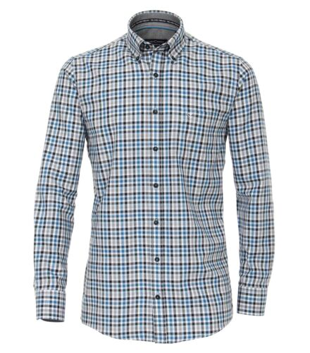 Blu maniche quadretti Nero Comfort con Fit lunghe a Shirt Bianco Sport Casamoda Eq6fHA