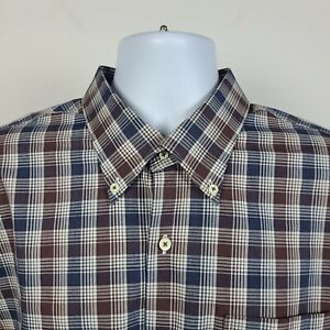 Peter Millar Blue Brown Check Plaid Mens Dress Button Shirt Size XL
