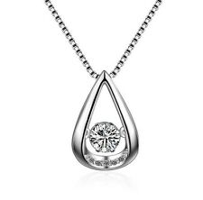 Dancing Water Drop Cubic Zirconia Sterling Silver Halo Pendant Necklace Gift Box