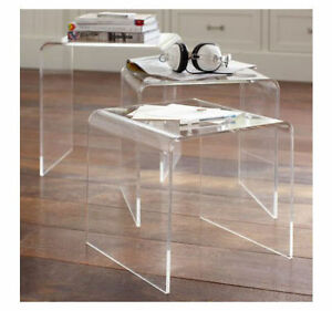 Image is loading Modern-Acrylic-Nesting-End-Table-Coffee-Table-3pc-