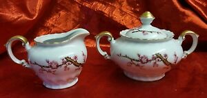 Vintage-ALBION-China-Cherry-Blossom-Branch-Made-in-Japan-Creamer-amp-Sugar-Bowl