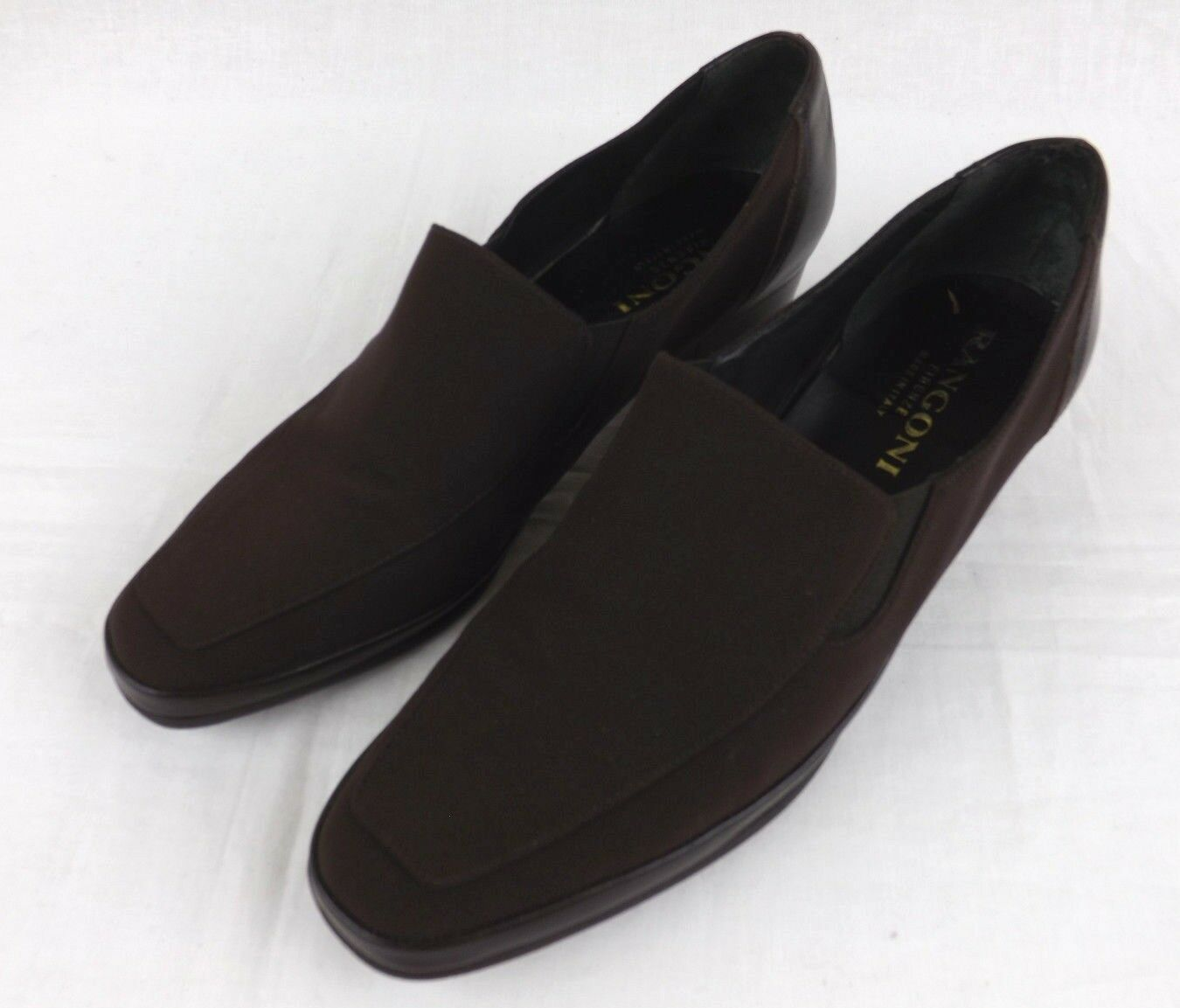 RANGONI Firenze ELVIRA Brown Leather Fabric Loafers Pumps Women's 8.5 AAA shoes