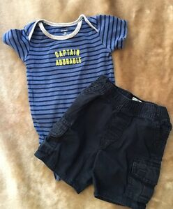 Clothing, Shoes & Accessories Careful Boys Lot Children's Place Shorts 12-18 Month Navy & Carters Blue Body Suit