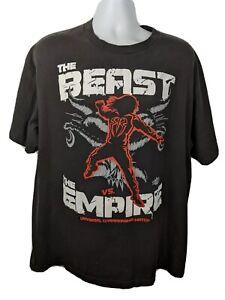 WWE-T-shirt-Brock-Lesnar-Roman-Reigns-Beast-Vs-The-Empire-Black-T-Shirt-XL