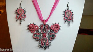Handmade-soutache-necklace-and-earrings-with-swarovski-crystals-pink-and-grey