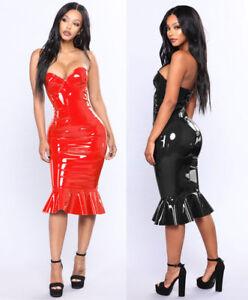 23b6088d14a8 Ladies Celeb Black / Red VINYL (PVC) MINI DRESS SIZE S-6XL P890 | eBay