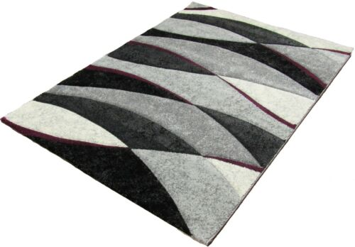 Silver Purple Rug Runner  Waves Design 3D Texture Any Room